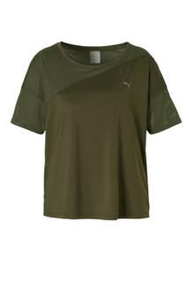 mesh sport T-shirt donkergroen