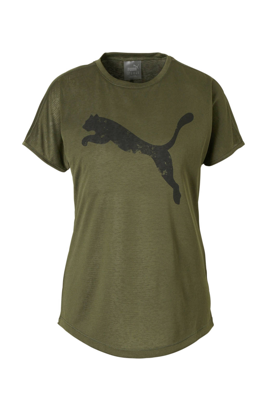 Puma sport T-shirt met mesh donkergroen, Donkergroen