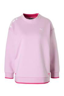 Puma sweater met mesh lichtroze (dames)