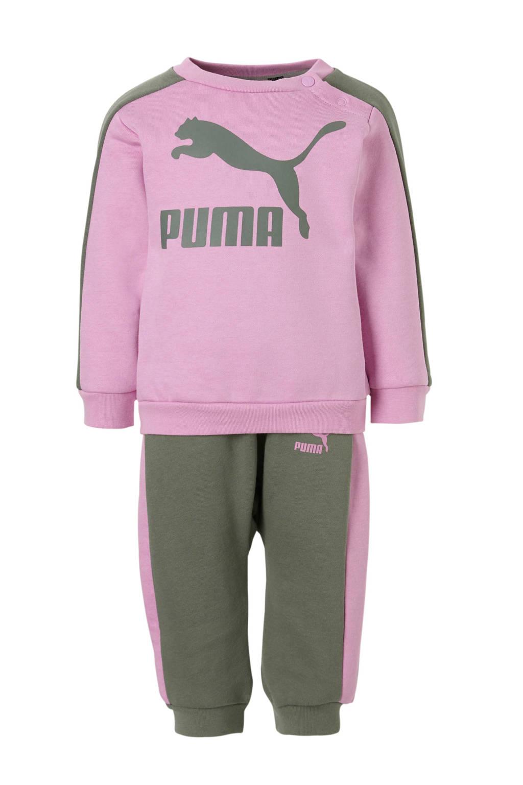 Puma   joggingpak roze/groen, Roze/groen