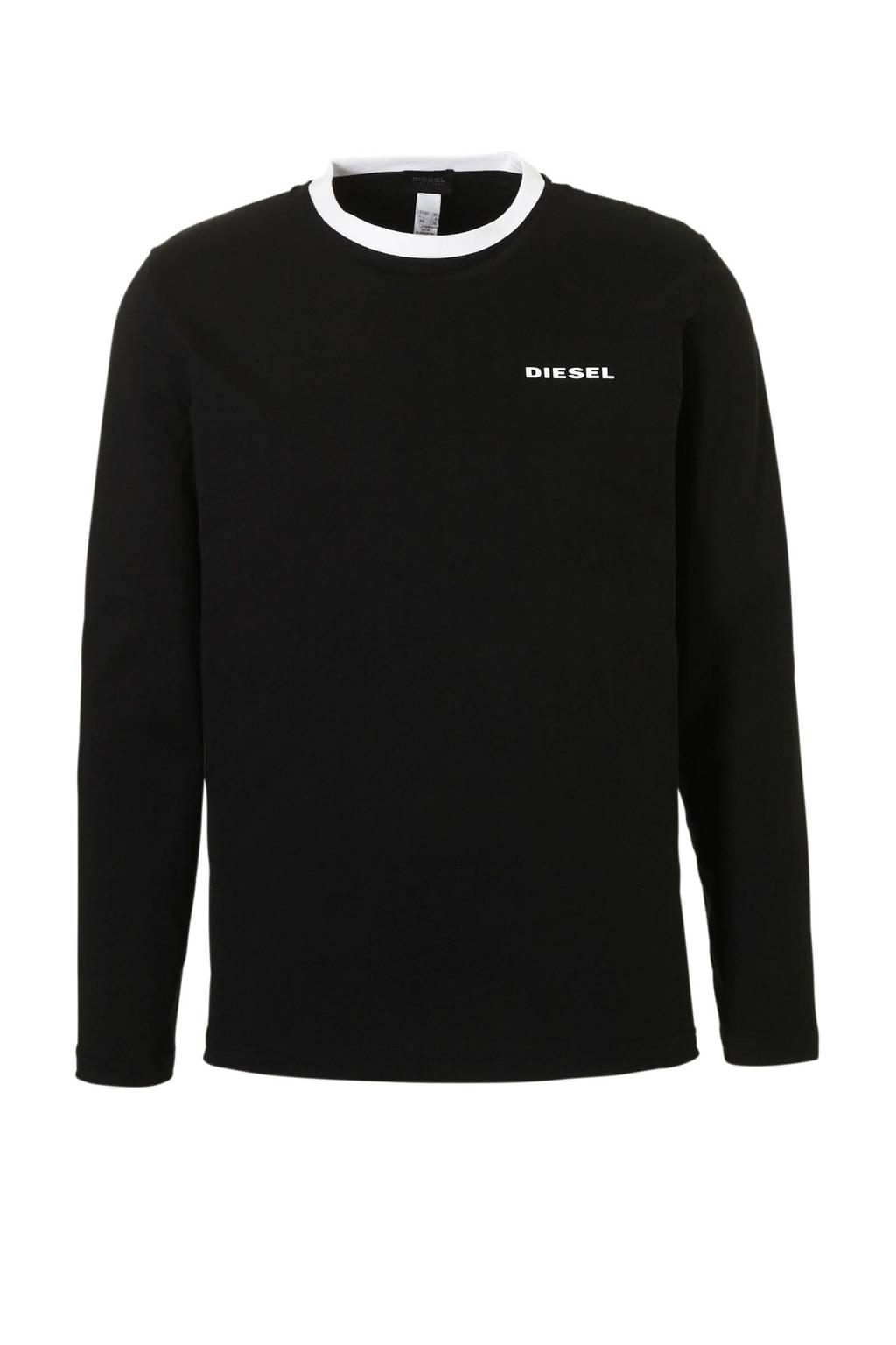 Diesel katoenen t-shirt zwart, Zwart/wit