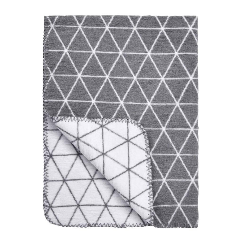 Meyco Triangle wiegdeken 75x100 cm wit/grijs, Grijs/wit