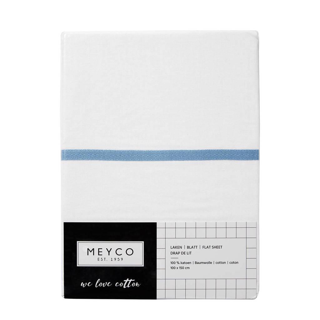 Meyco ledikantlaken met bies 100x150 cm wit/jeans, Jeans/wit