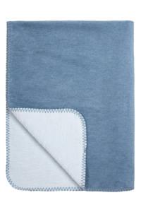 Meyco Double Face ledikantdeken 100x150 cm jeans/lichtblauw