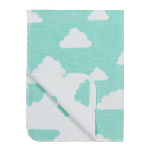 katoenen wiegdeken little clouds new mint-wit