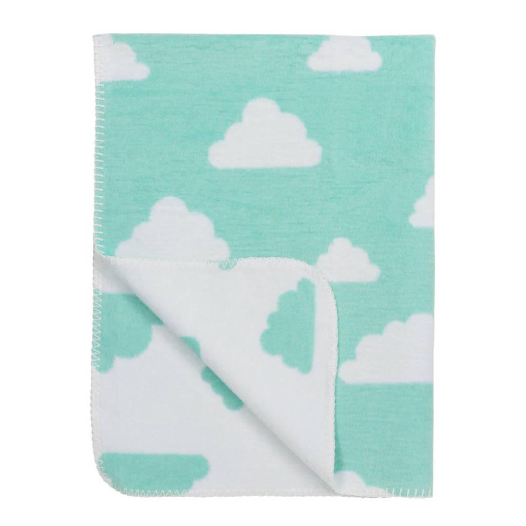 Meyco Little Clouds baby wiegdeken 75x100 cm mint, Mint