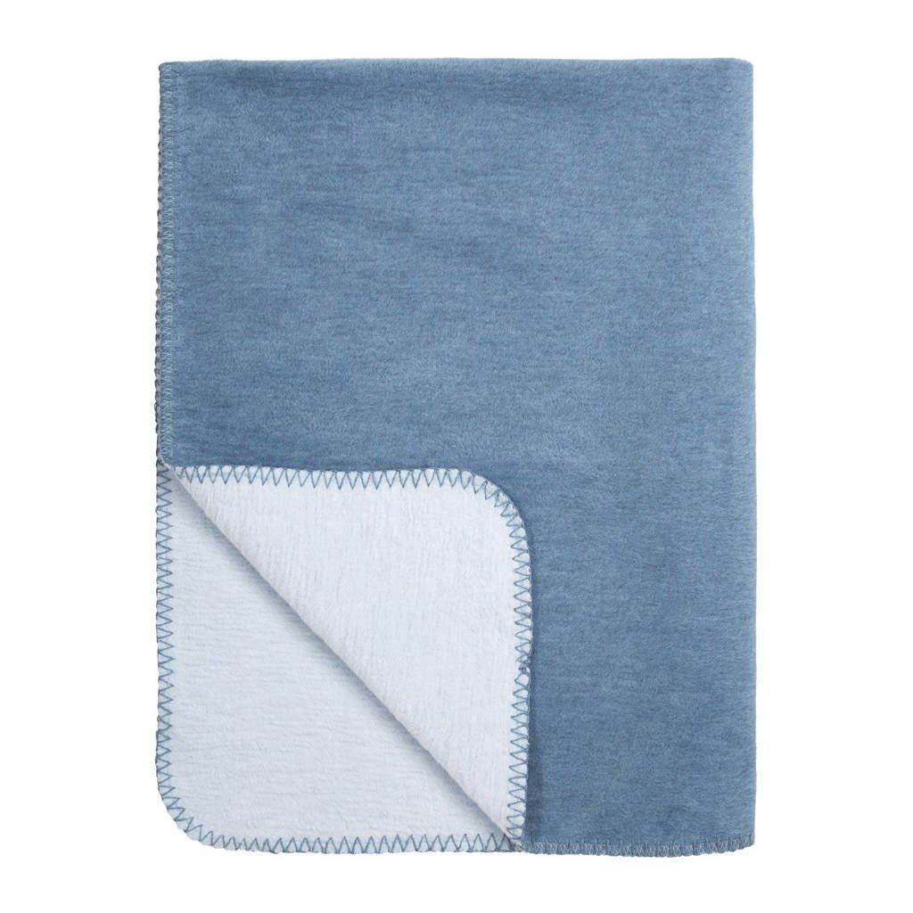 Meyco Double Face wiegdeken 75x100 cm jeans/lichtblauw