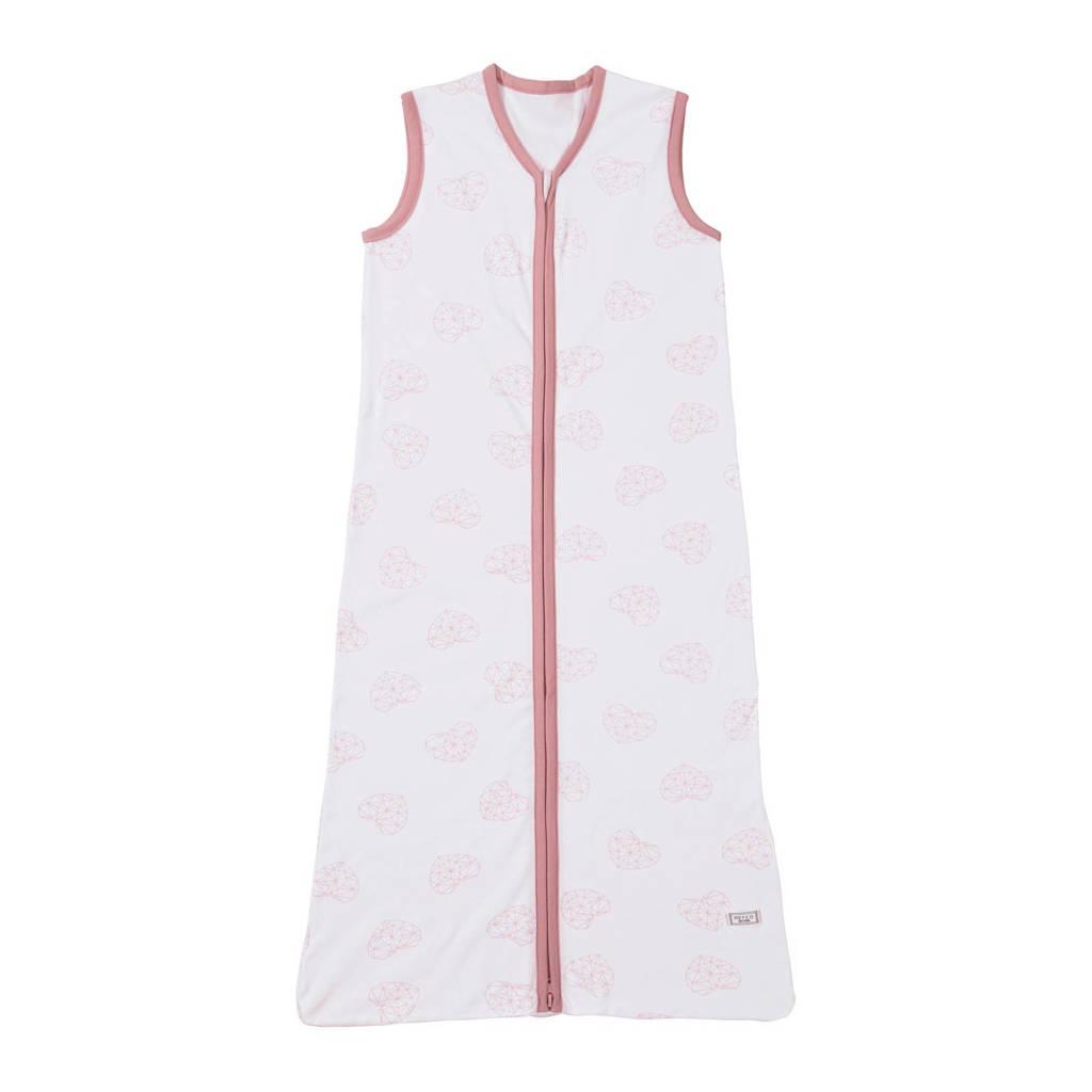 Meyco Geometric heart baby slaapzak zomer 110 cm wit/oudroze, Wit/oudroze