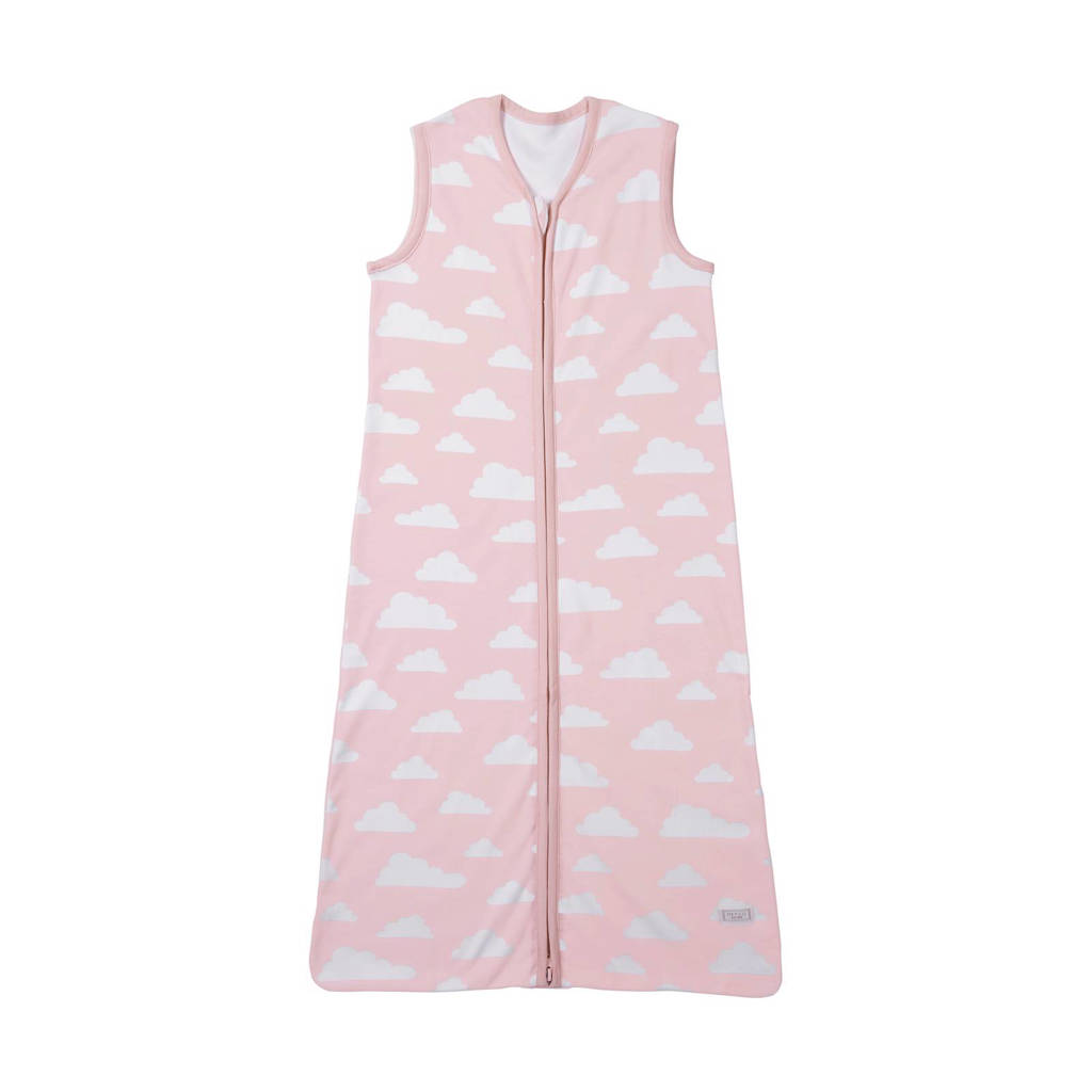 Meyco Little clouds baby slaapzak zomer 110 cm roze, Vanaf 18 maanden, Lichtroze/wit