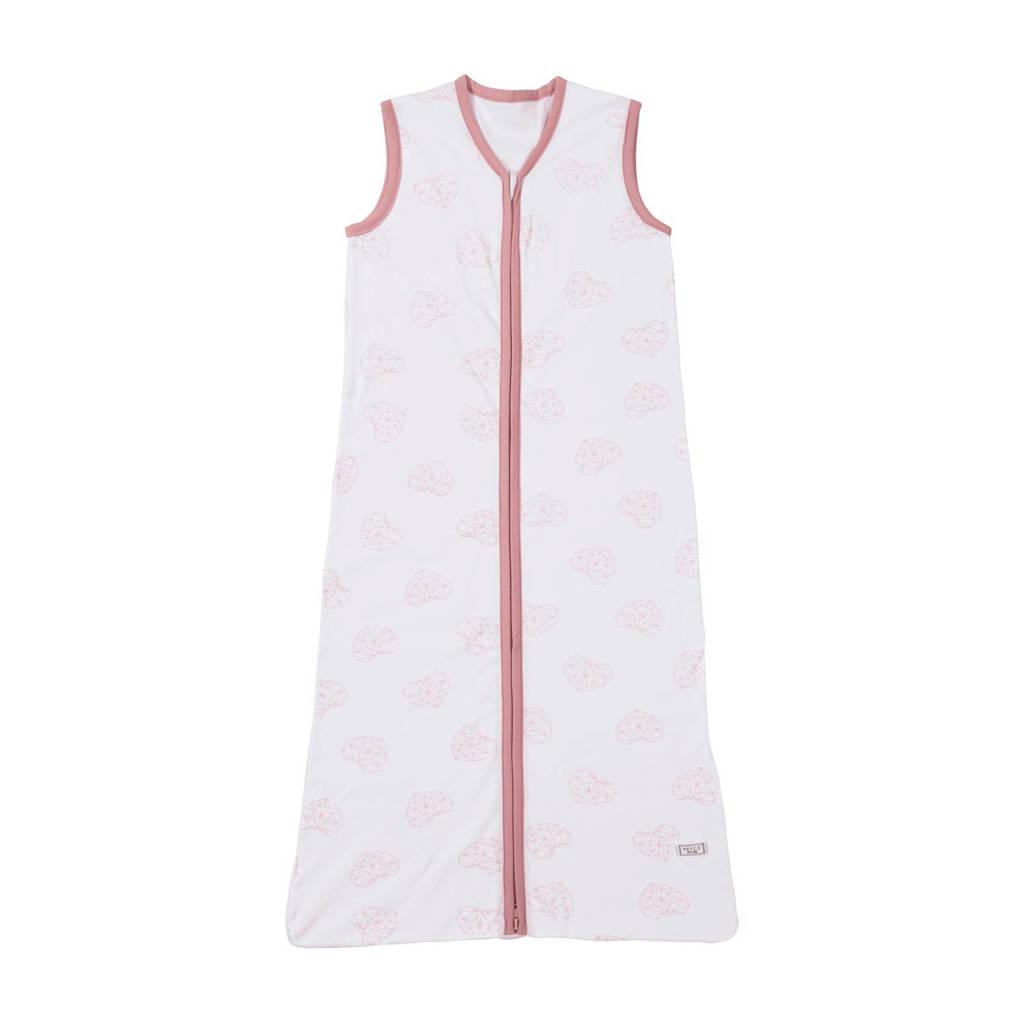 Meyco Geometric heart baby slaapzak zomer 90 cm wit/oudroze, Wit/oudroze