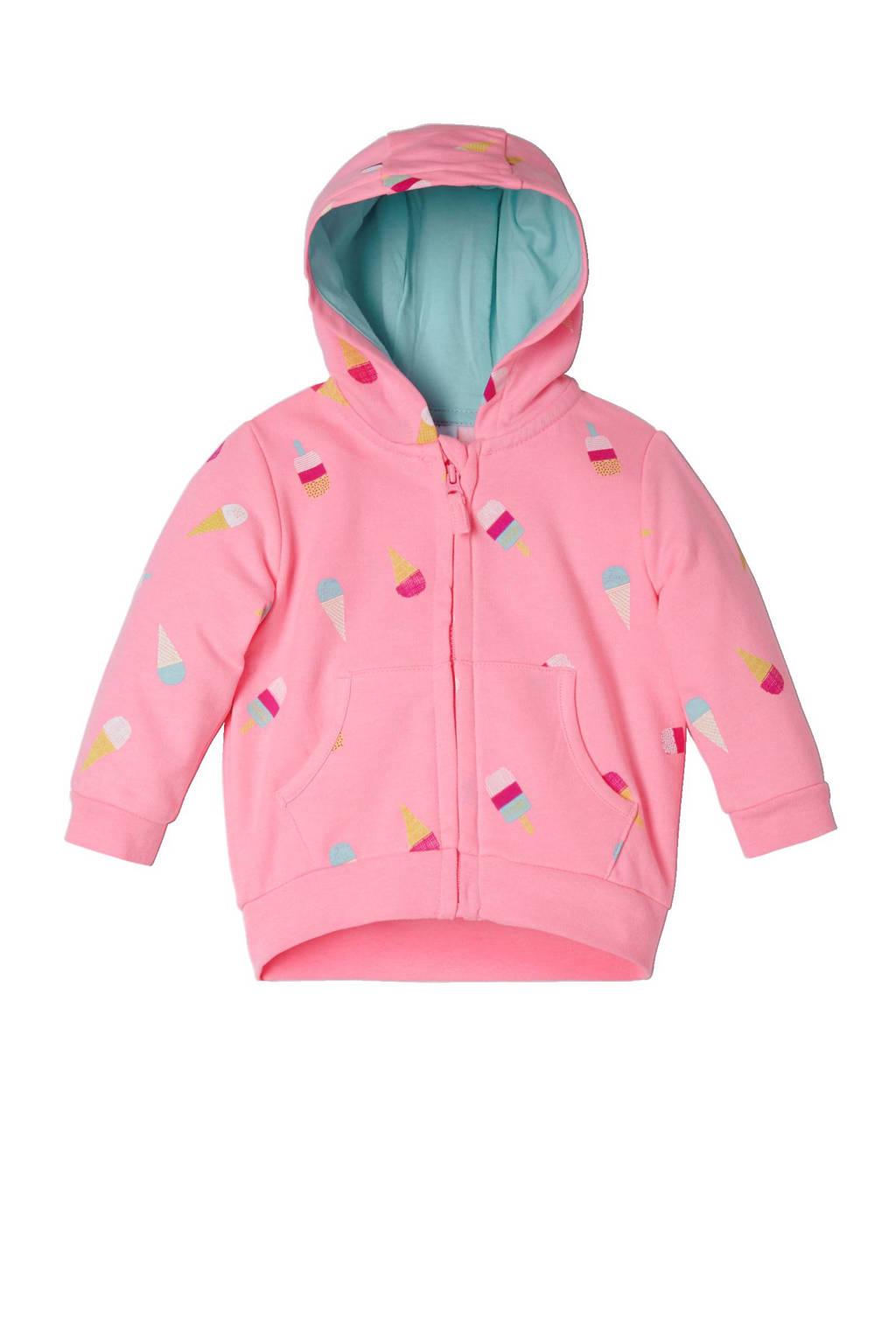 C&A Baby Club sweatvest met capuchon, Roze/lichtblauw/geel