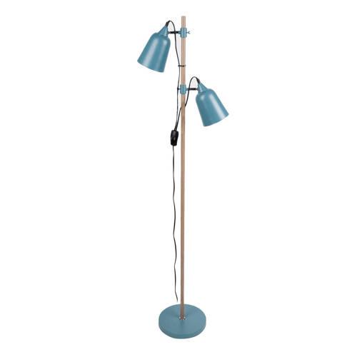 Vloerlamp Wood-like Jeans blauw 2-kaps 2 x E14 Leitmotiv