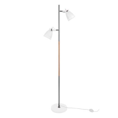 Vloerlamp Mingle Wit-Zilver Met hout Leitmotiv