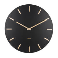 Karlsson Klokken klok Charm (Ø45 cm), Zwart/goud