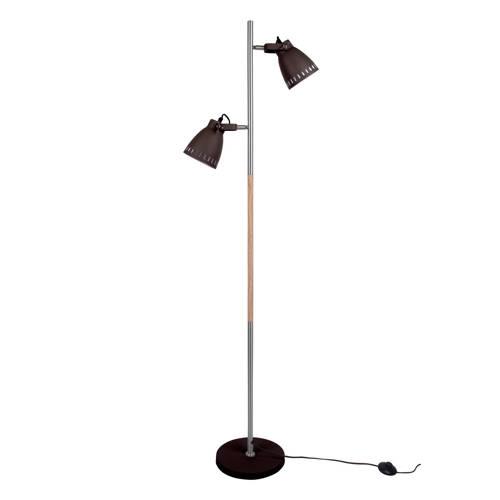 Vloerlamp Mingle Zwart-Zilver Met hout Leitmotiv