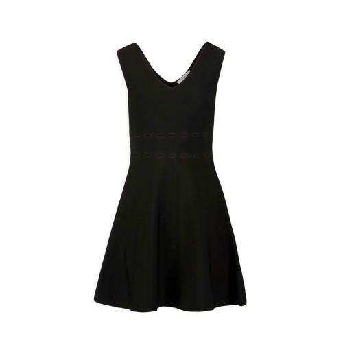 jurk met opengewerkte details zwart