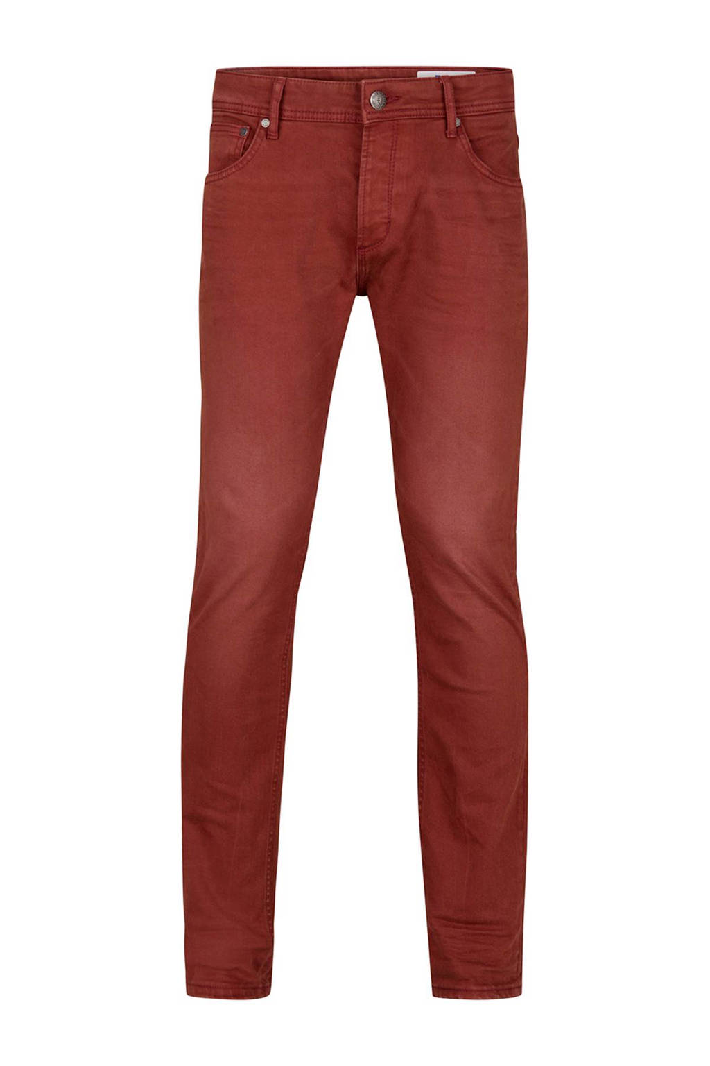 WE Fashion Blue Ridge slim fit broek, Donkerrood