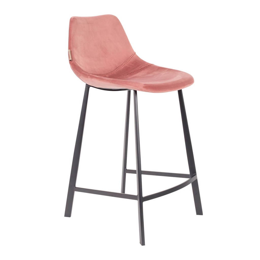 Dutchbone Franky Velvet Counter barkruk (set van 2), Roze