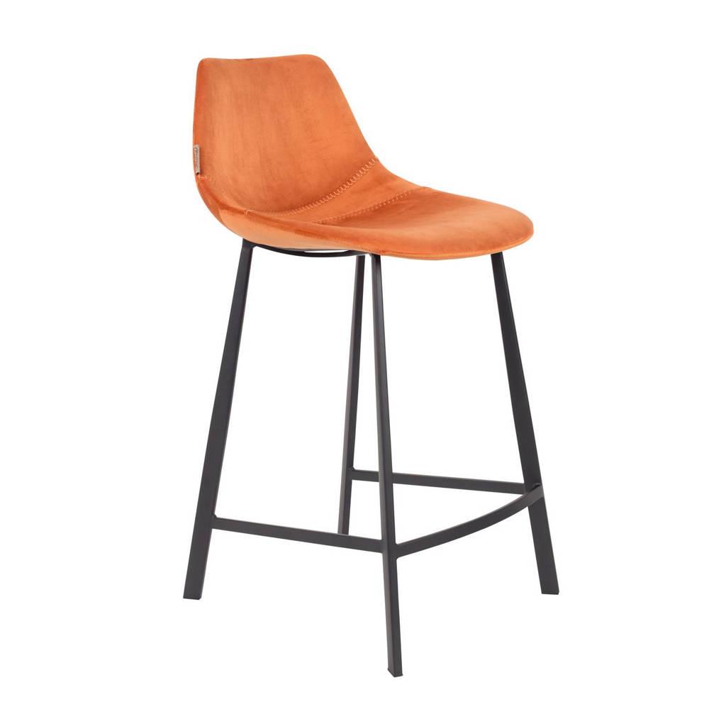 Dutchbone Franky Velvet Counter barkruk (set van 2), Oranje