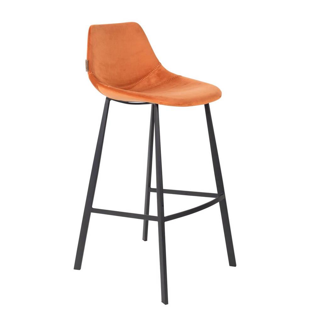 Dutchbone Franky Velvet barkruk (set van 2), Oranje