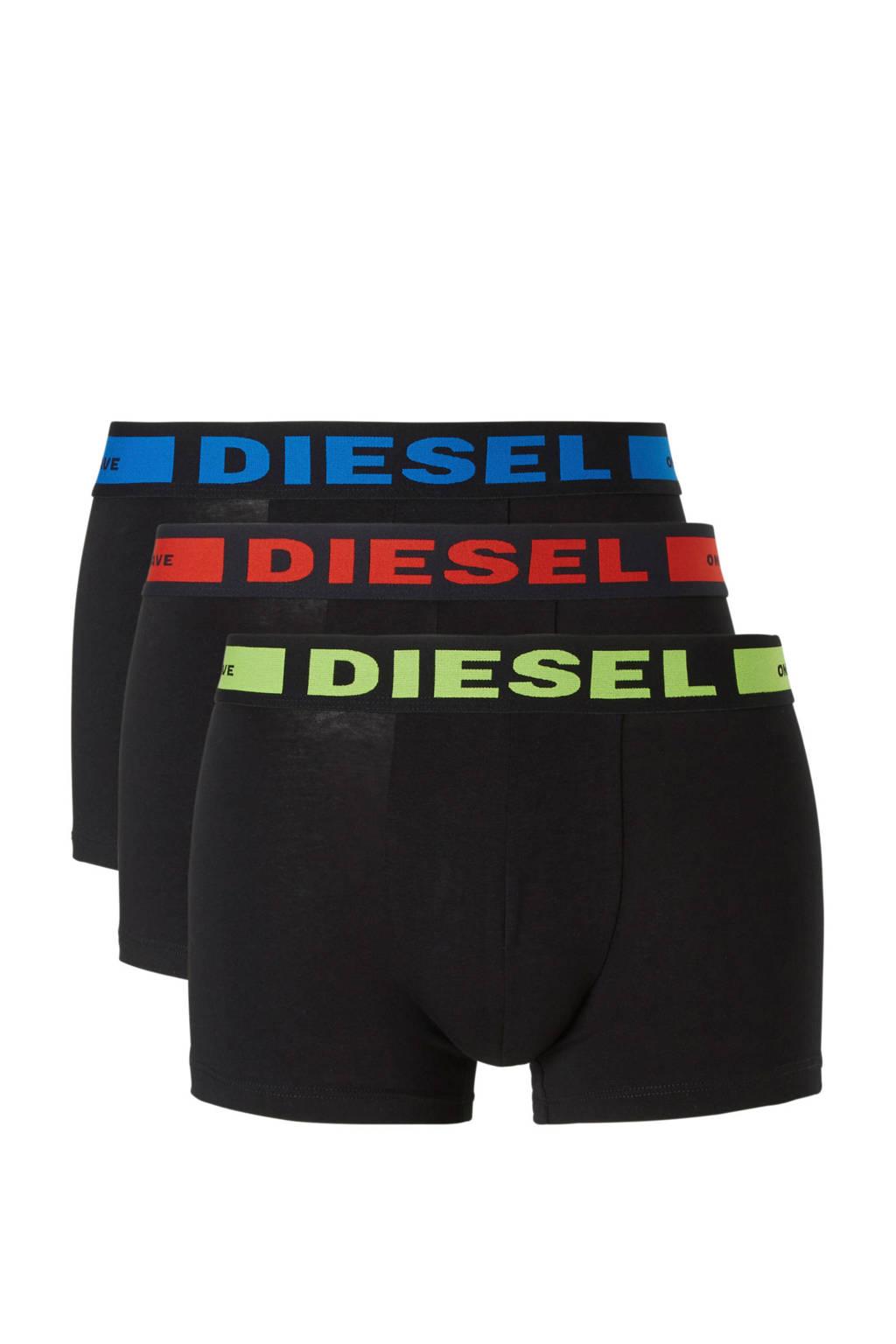 Diesel katoenen boxershort (set van 3), Zwart / rood / blauw