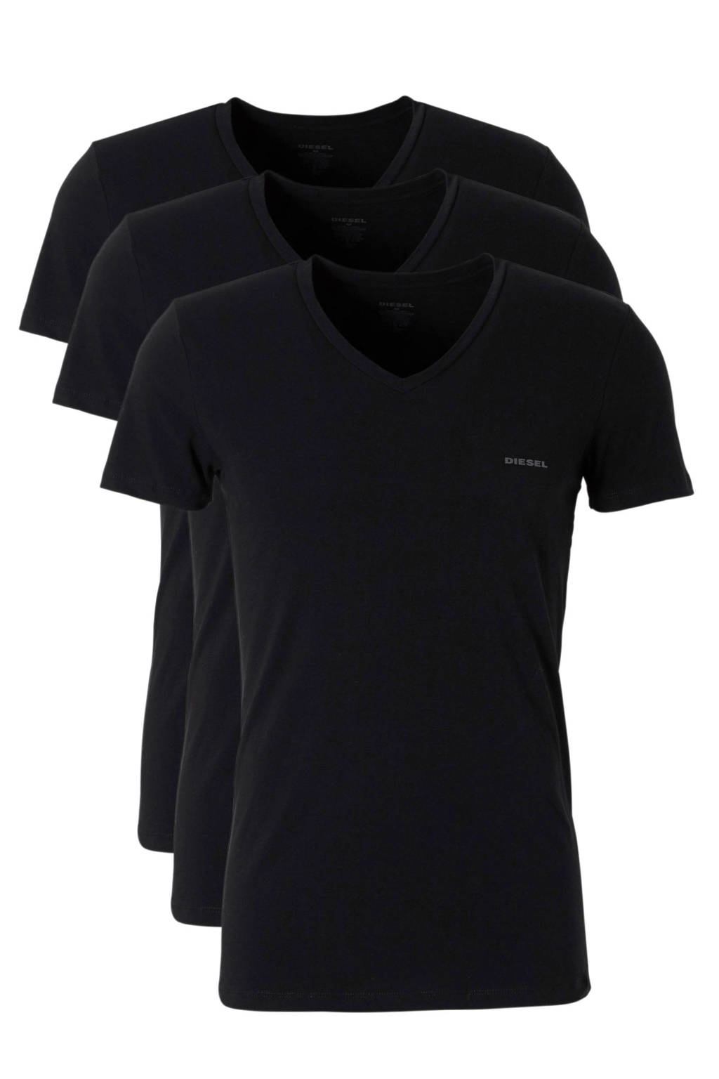 Diesel katoenen t-shirt zwart - set van 3, Zwart