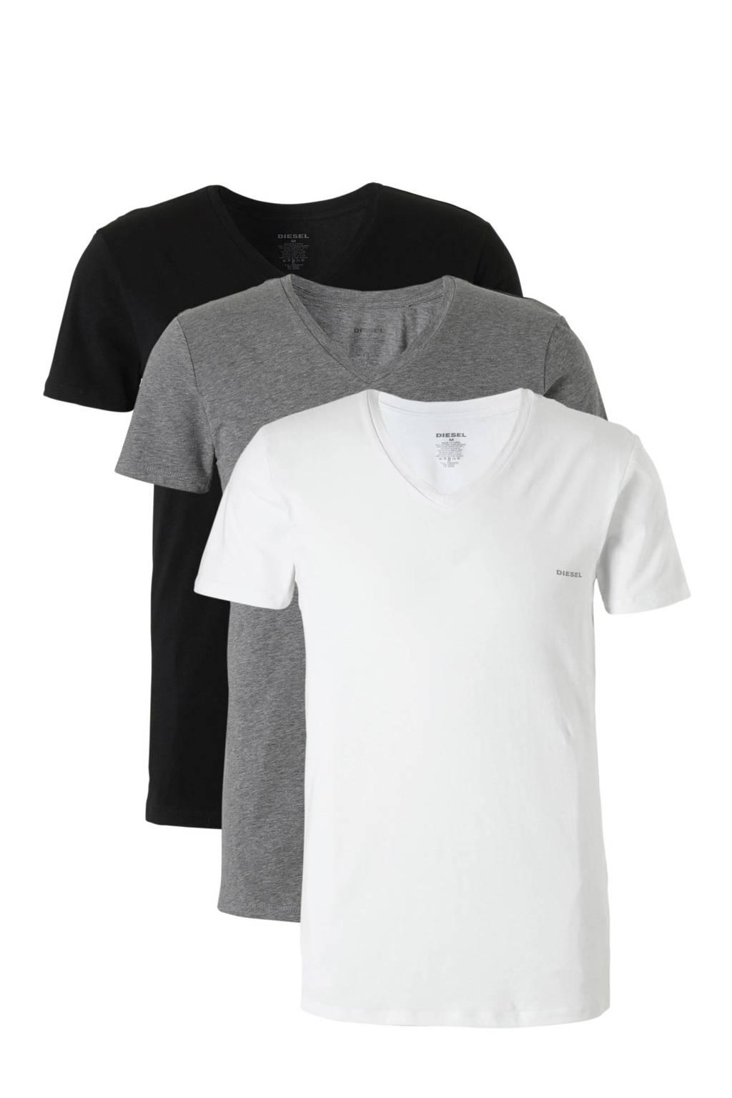 Diesel T-shirt (set van 3), Zwart / wit / grijs