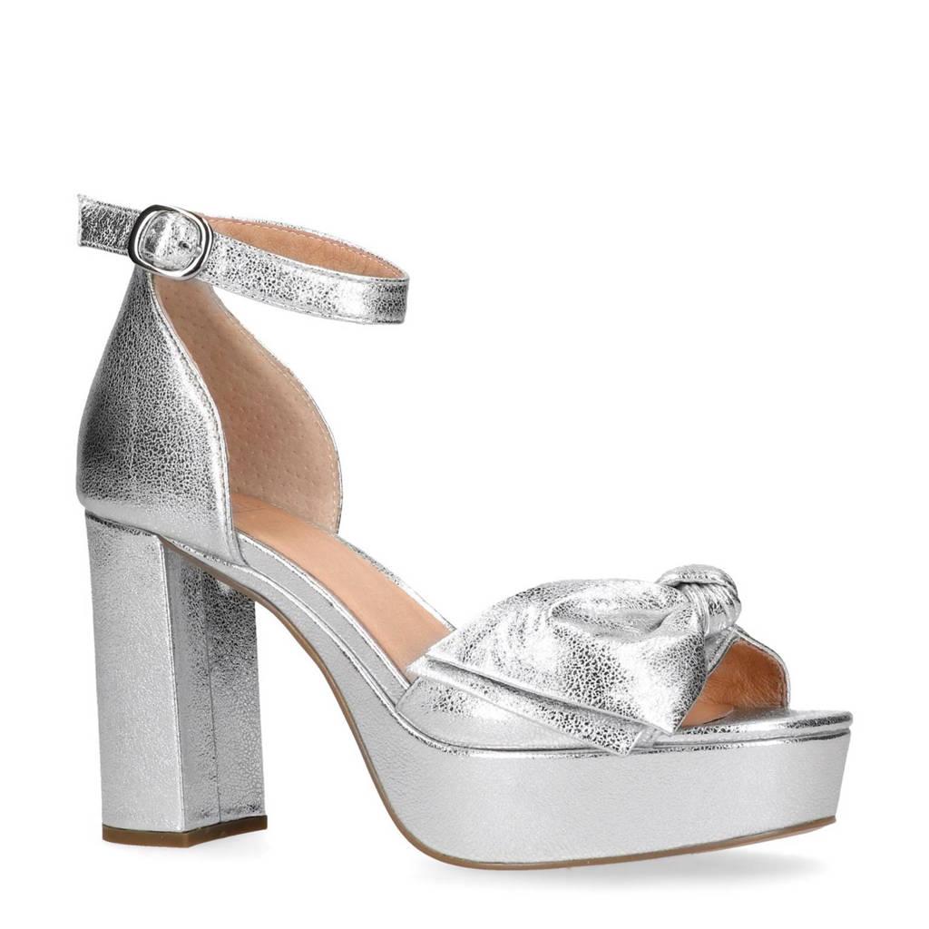 Manfield metallic leren sandalettes met strik, Zilver