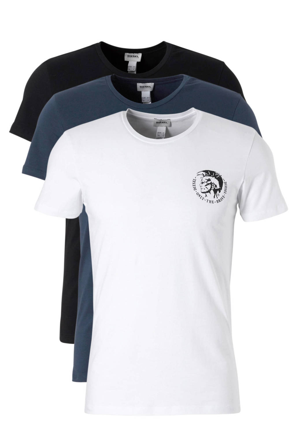 Diesel katoenen t-shirt Randal - set van 3, Zwart / wit / blauw