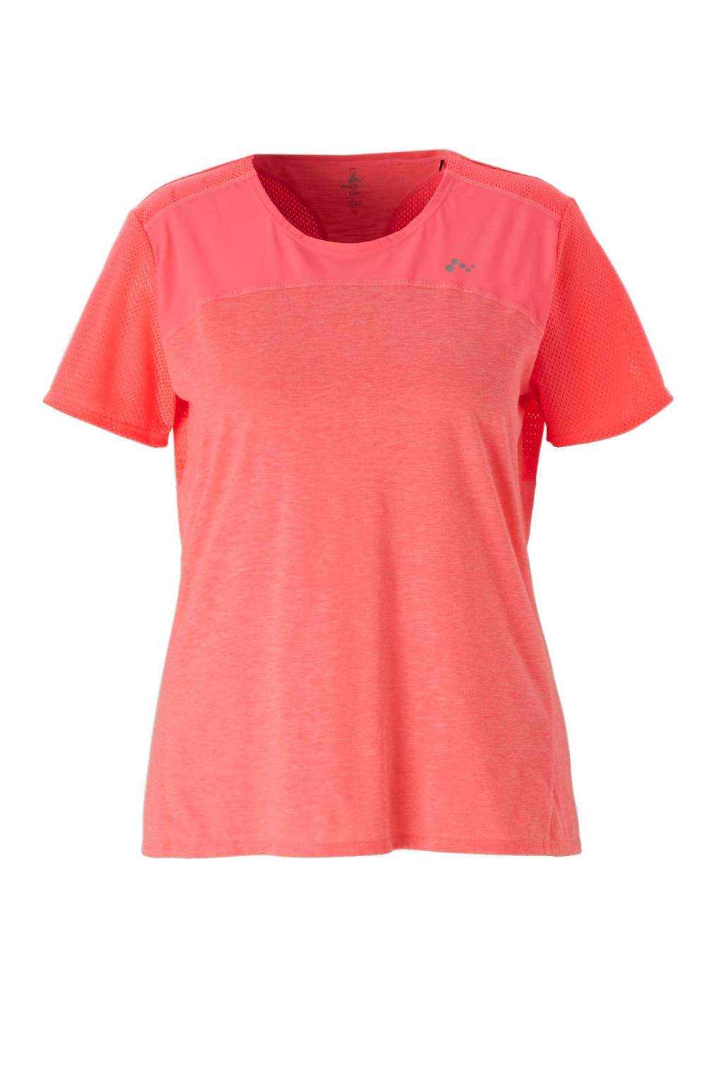 Only Play Curvy sport T-shirt, Neon roze