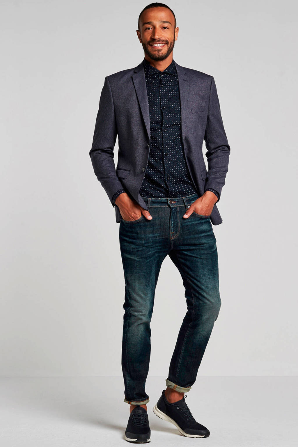 SELECTED HOMME My Lologan slim fit colbert, Marineblauw/ Wit