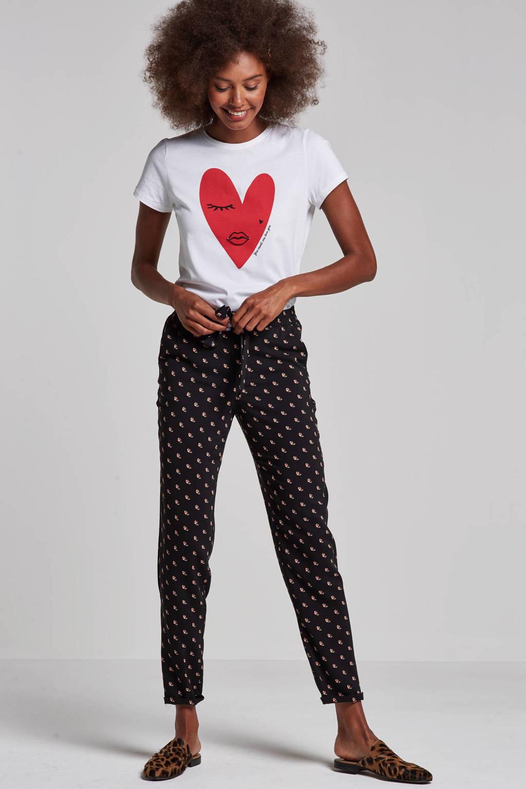 Tom Tailor broek met all over print, Zwart/roze
