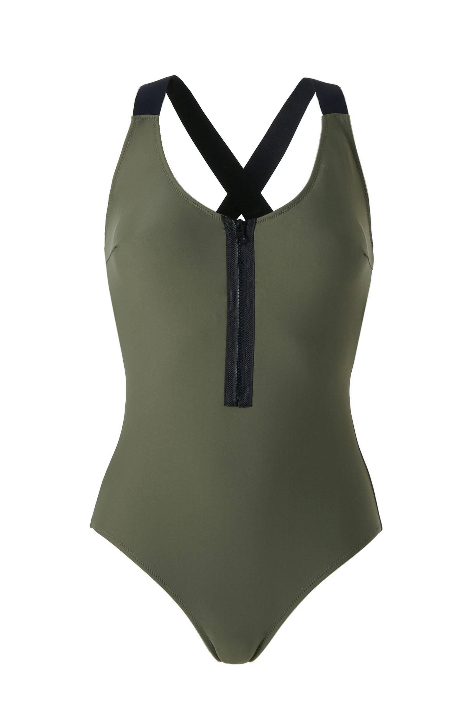 whkmp's beachwave corrigerende badpak met rits groen (dames)