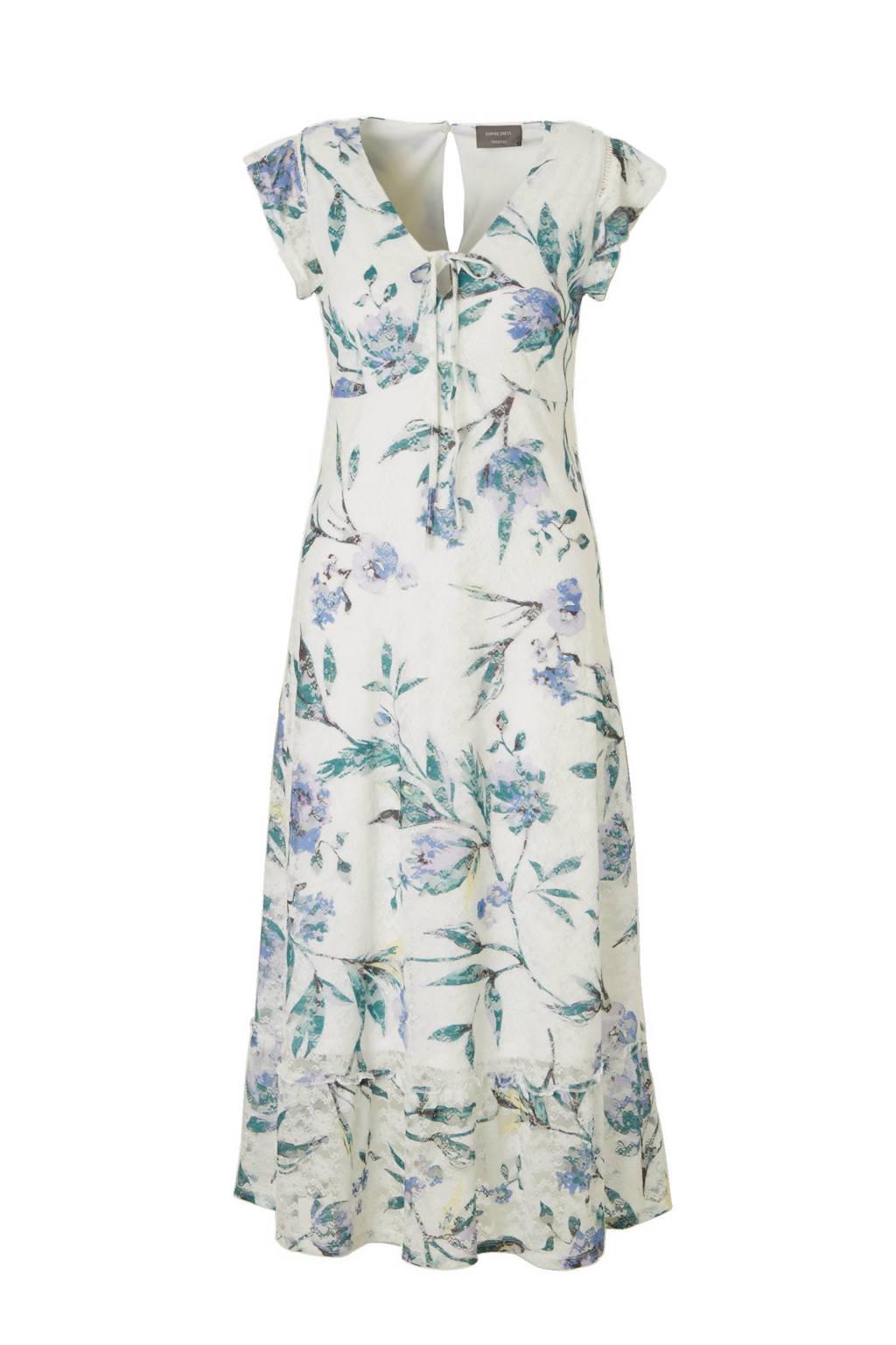 C&A Yessica kanten jurk met bloemenprint, Naturel wit/groen/blauw