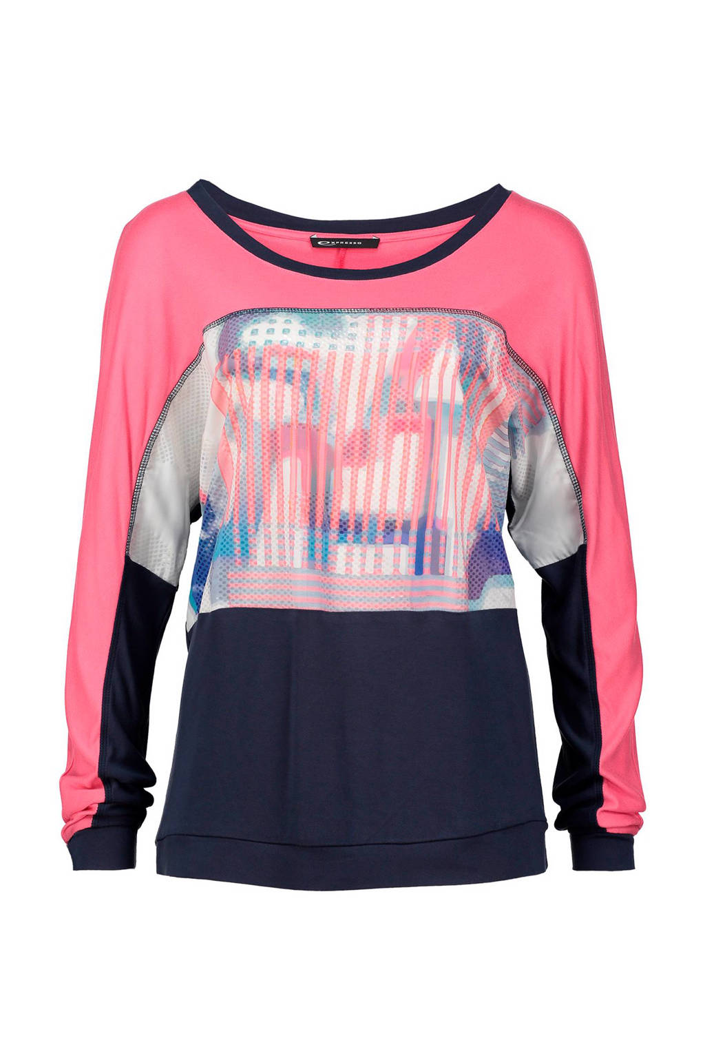 Expresso top Carianne, Donkerblauw/roze