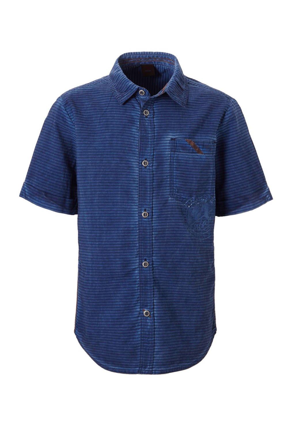 s.Oliver gestreept overhemd donkerblauw, Donkerblauw