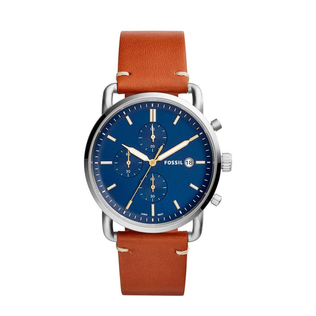 Fossil chronograaf FS5401, Bruin/zilver/blauw