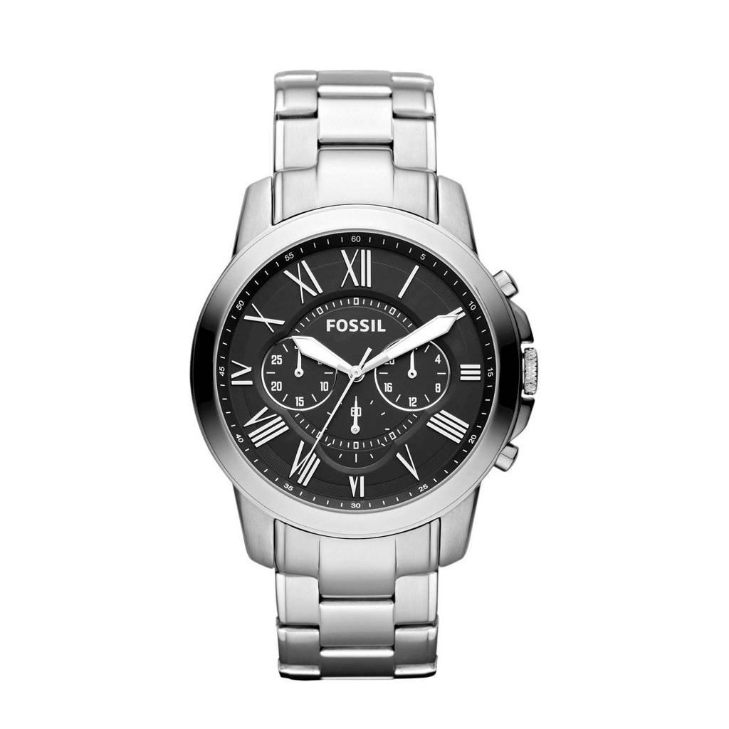Fossil horloge Grant FS4736IE zilverkleur/staal, Zilver/zwart