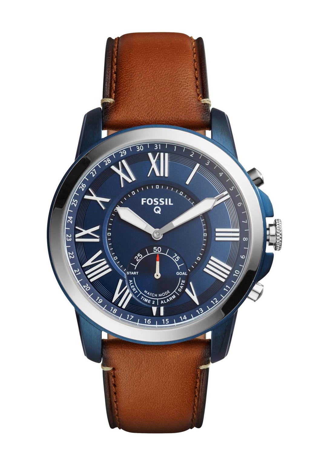 Fossil Q Grant heren Hybrid smartwatch FTW1147, Bruin/blauw