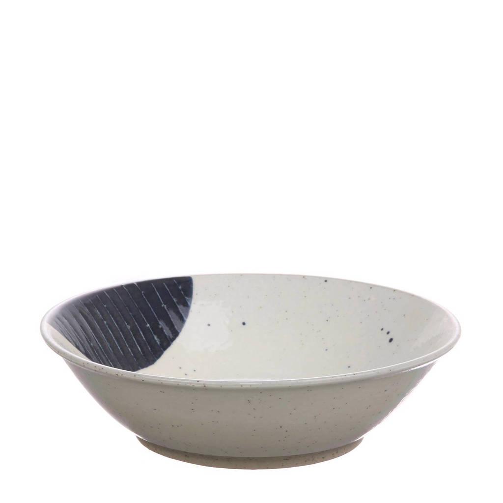HKliving Kyoto kom (Ø16,5 cm), Wit/blauw