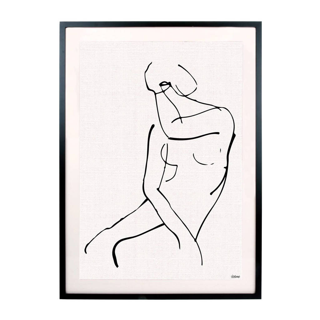 HKliving poster in lijst (72x51 cm), Zwart/wit