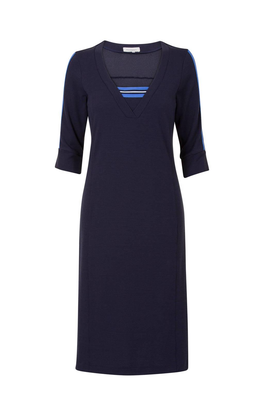 Promiss jurk donkerblauw met contrasterende streep, Donkerblauw