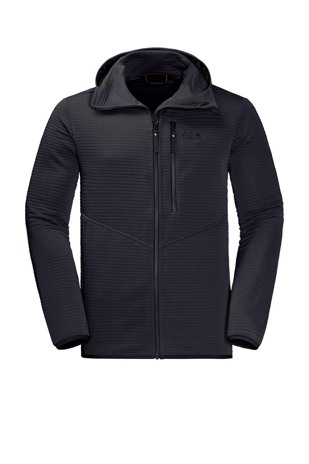 Jack Wolfskin   Modesto Hooded outdoor fleecejack, Zwart