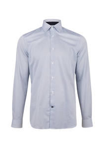 WE Fashion slim fit overhemd met stippendessin blauw (heren)