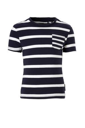 gestreept T-shirt donkerblauw / wit