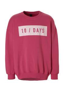 10DAYS sweater met logo fuchsia (meisjes)