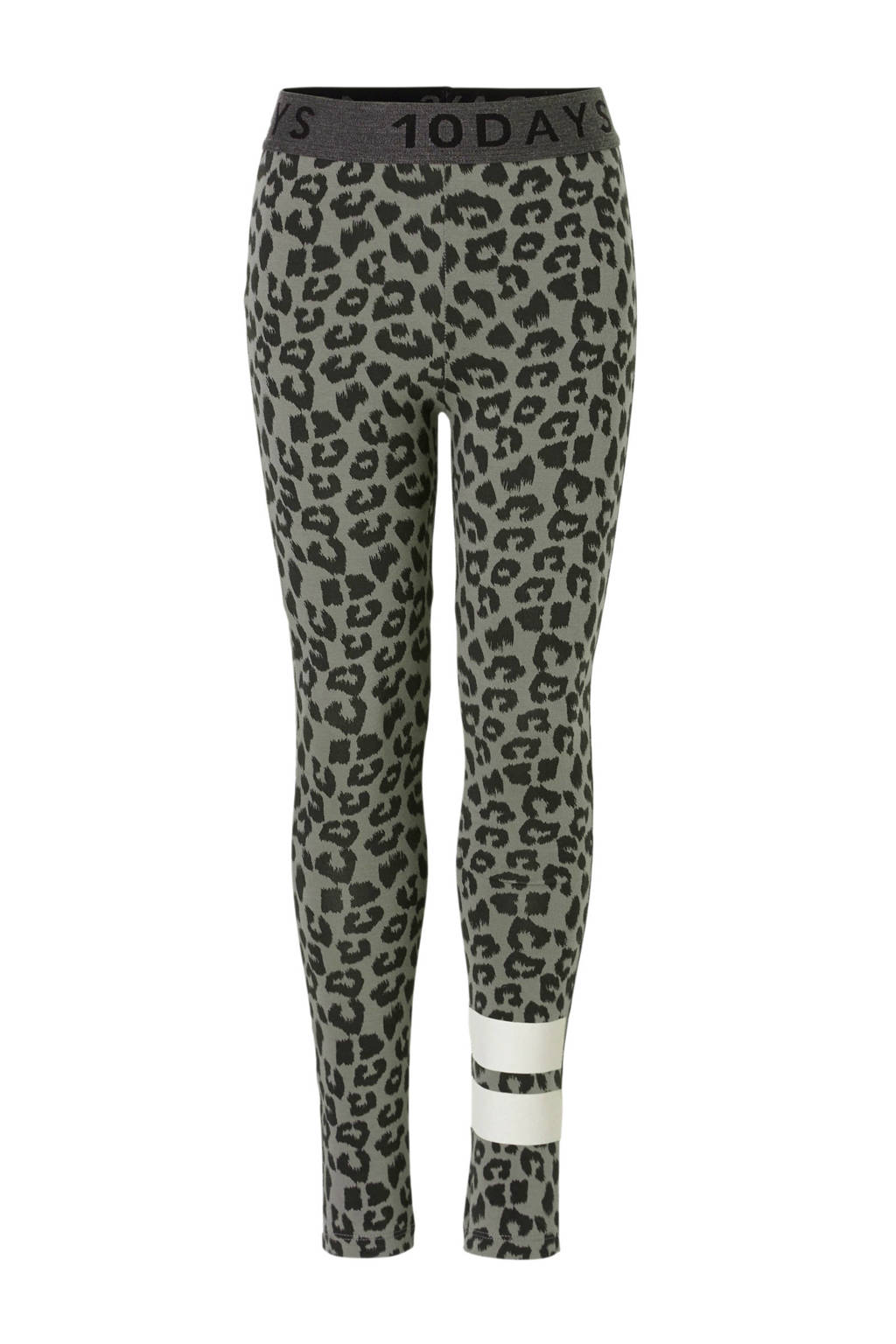 10DAYS legging met panterprint grijs, Grijs/zwart/wit