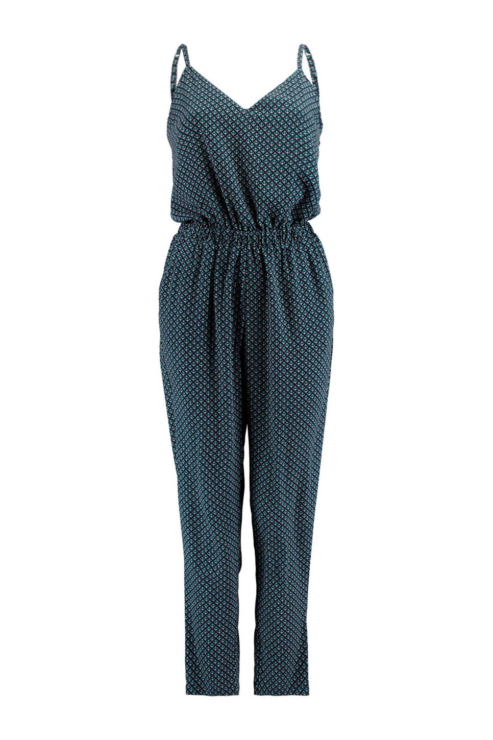America Today jumpsuit all over print, Blauw/zwart