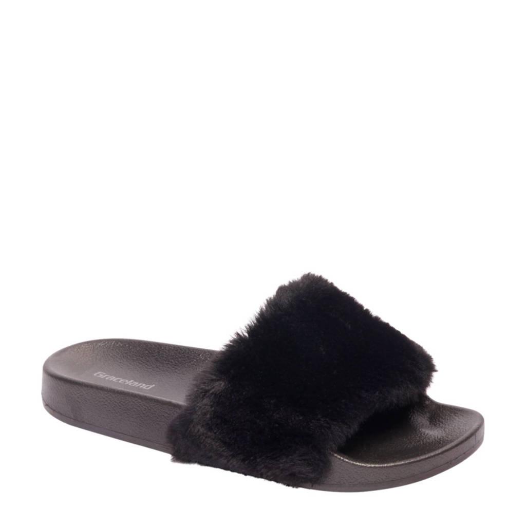 vanHaren Graceland slipper met imitatiebont, Zwart