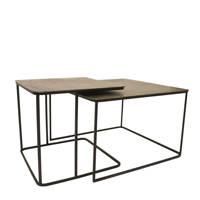 HKliving metalen salontafel (set van 2), Zwart, messing